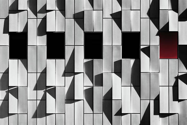 Selective Color Photograph - 3d Facade by Hans-wolfgang Hawerkamp