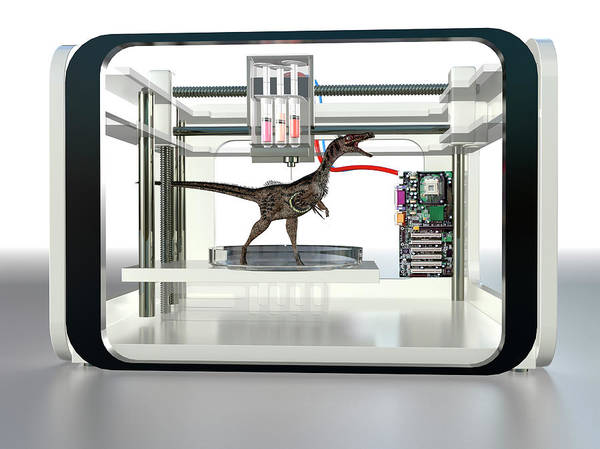 Three Dimensional Wall Art - Photograph - 3d Printed Dinosaur by Christian Darkin