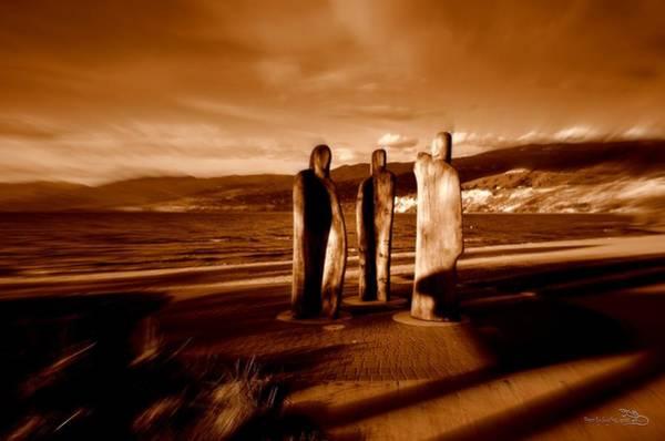 Photograph - 3woodenmen - Okanagan Lake by Guy Hoffman