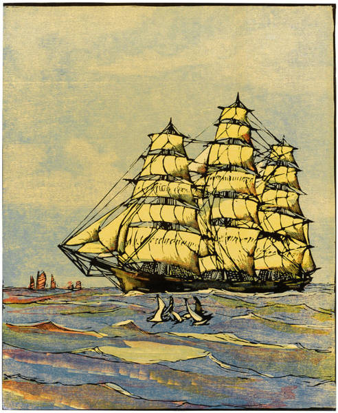 Twilight Drawing -  California Clipper Ship by Mary Evans Picture Library