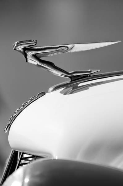 Photograph - 1935 Auburn Hood Ornament -0297bw by Jill Reger