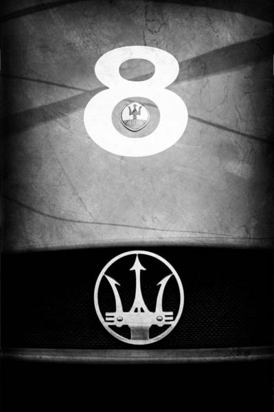 Photograph - 1956 Maserati 150s Grill Emblem - The Beels Racing Team by Jill Reger