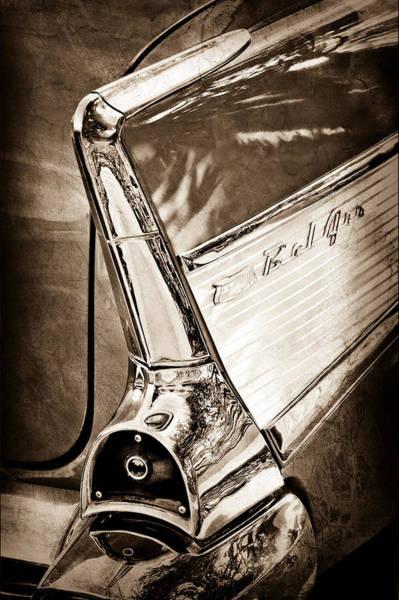 Chevrolet Bel Air Photograph - 1957 Chevrolet Belair Taillight Emblem by Jill Reger