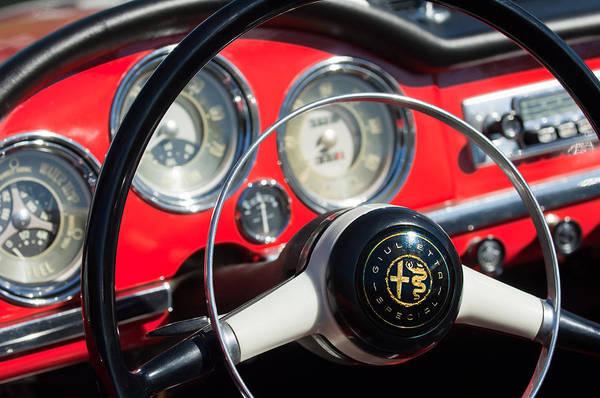 Photograph - 1961 Alfa Romeo Giulietta Spider Steering Wheel Emblem -1239c by Jill Reger