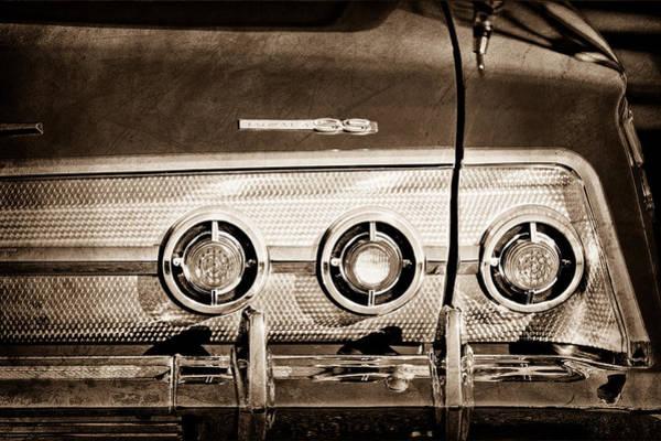 Impala Photograph - 1962 Chevrolet Impala Ss Taillight Emblem by Jill Reger