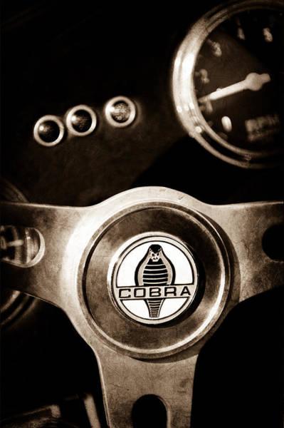 Ac Cobra Wall Art - Photograph - 1965 Ac Cobra Steering Wheel Emblem by Jill Reger