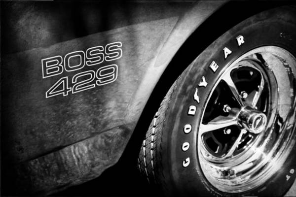 Photograph - 1969 Ford Mustang Boss 429 Sportsroof Side Emblem - Wheel by Jill Reger