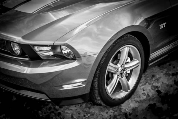 Photograph - 2010 Ford Mustang Convertible Bw by Rich Franco