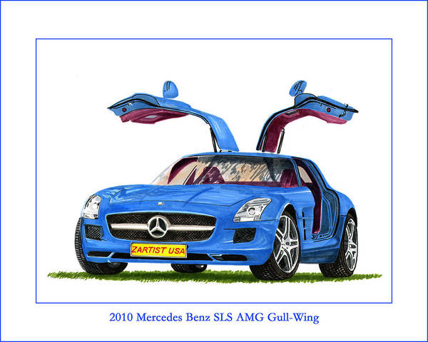 Classic Car Drawings Painting - 2010 Mercedes Benz S L S Gull-wing by Jack Pumphrey