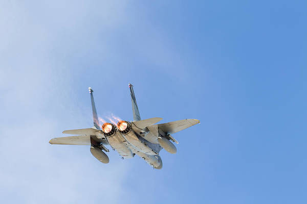 Flying The Flag Wall Art - Photograph - A U.s. Air Force F-15c Eagle Taking by Rob Edgcumbe