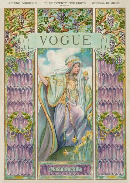 Purple Flower Photograph - A Vintage Vogue Magazine Cover Of A Woman by Artist Unknown