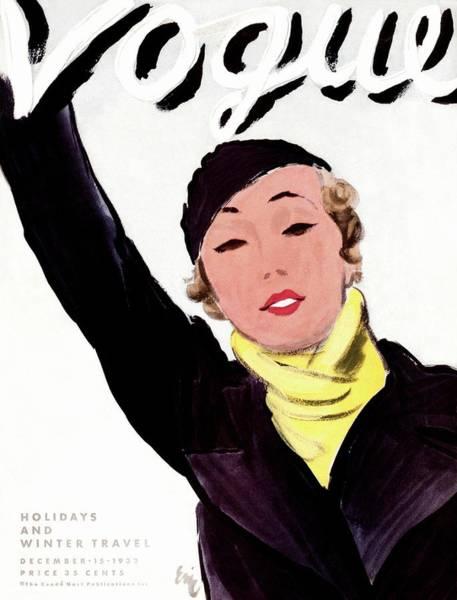 Taxi Photograph - A Vintage Vogue Magazine Cover Of A Woman by Carl Oscar August Erickson