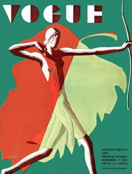 Archery Photograph - A Vintage Vogue Magazine Cover Of A Woman by Eduardo Garcia Benito