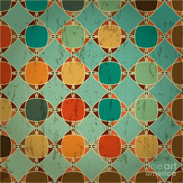 Circular Wall Art - Digital Art - Abstract Geometric Pattern Background by Kirsten Hinte