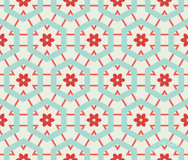 Symmetrical Digital Art - Abstract Retro Pattern. Vector by Artsandra