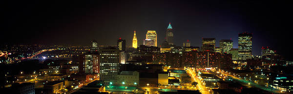 Cleveland Scene Photograph - Aerial View Of A City Lit Up At Night by Panoramic Images