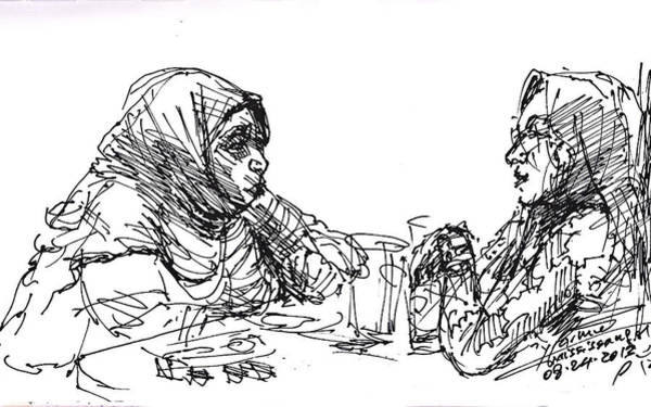 Lady Drawing - At Tim Hortons by Ylli Haruni