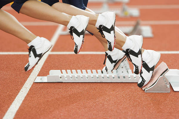 Athlete Leaving The Blocks Art Print by Gustoimages/science Photo Library