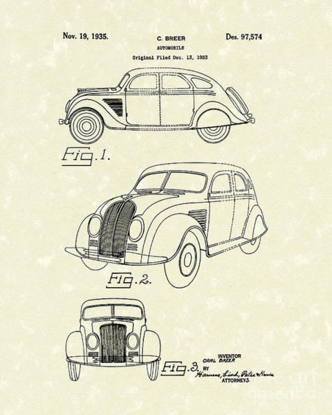 Automobile Drawing - Automobile 1935 Patent Art by Prior Art Design