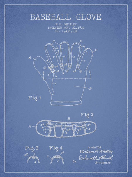 Gloves Digital Art - Baseball Glove Patent Drawing From 1922 by Aged Pixel