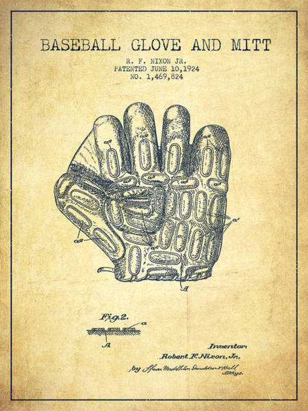 Gloves Digital Art - Baseball Glove Patent Drawing From 1924 by Aged Pixel