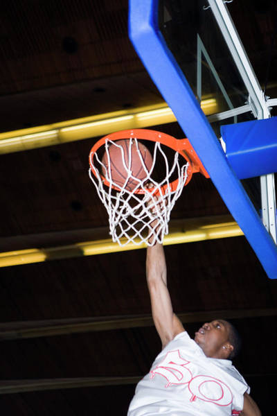 Hoop Photograph - Basketball Player Scoring by Gustoimages/science Photo Library