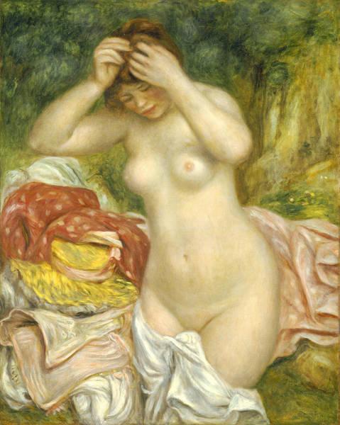 Towels Painting - Bather Arranging Her Hair by Pierre Auguste Renoir