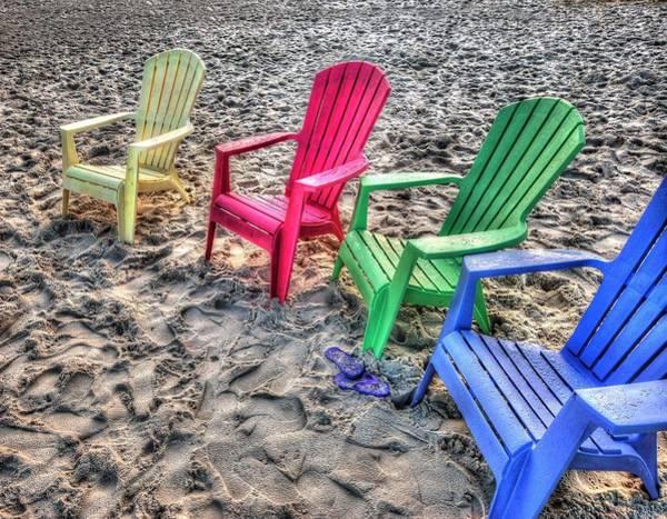 Wall Art - Digital Art - 4 Beach Chairs by Michael Thomas