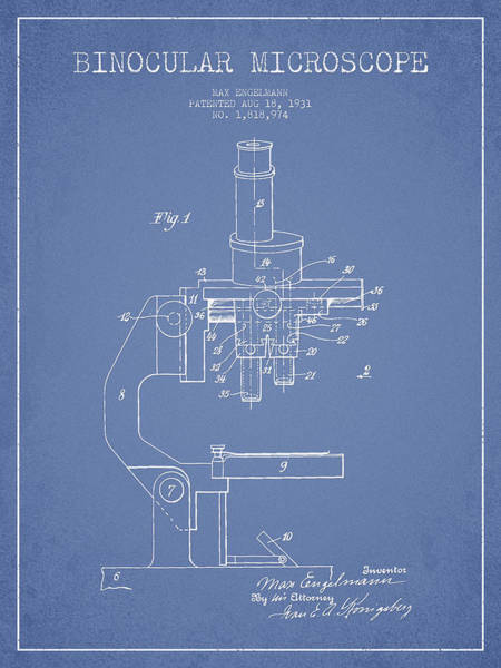Wall Art - Digital Art - Binocular Microscope Patent Drawing From 1931 - Light Blue by Aged Pixel