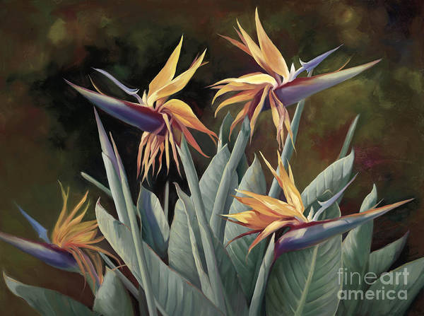 Birds And Flowers Painting - 4 Birds Of Paradise by Laurie Snow Hein