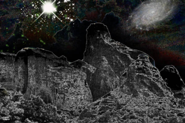 Planets And Moons Digital Art - Night Landscape by Augusta Stylianou