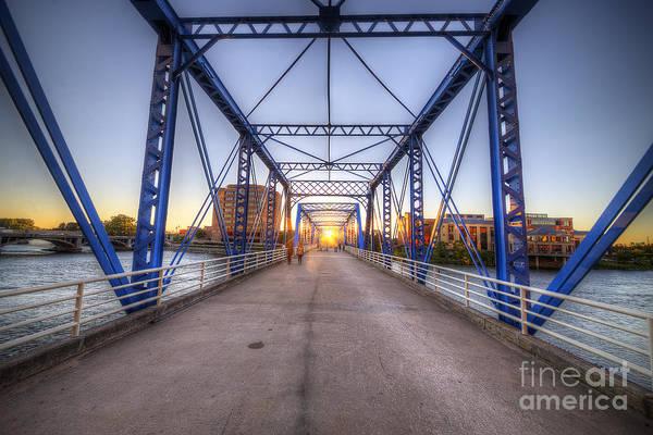 Rapids Photograph - Blue Bridge by Twenty Two North Photography