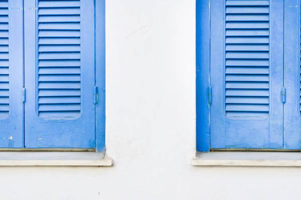 Greece Photograph - Blue Shutters by Tom Gowanlock