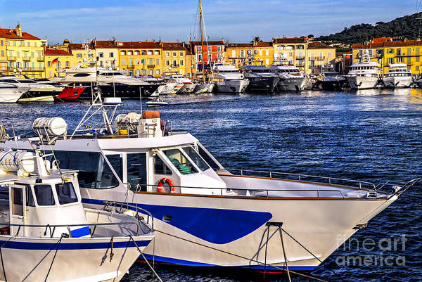 Anchor Photograph - Boats At St.tropez by Elena Elisseeva