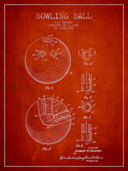 Bowling Ball Wall Art - Digital Art - Bowling Ball Patent Drawing From 1949 by Aged Pixel