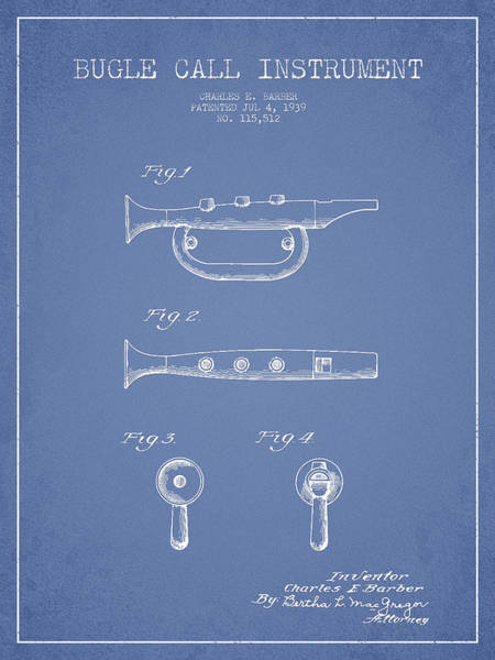 Bugling Wall Art - Digital Art - Bugle Call Instrument Patent Drawing From 1939 - Light Blue by Aged Pixel