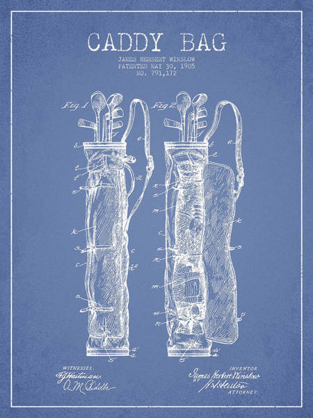 Pga Digital Art - Caddy Bag Patent Drawing From 1905 by Aged Pixel