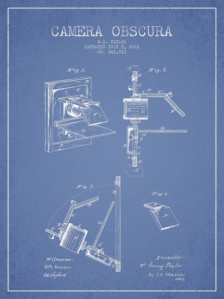 Lens Digital Art - Camera Obscura Patent Drawing From 1881 by Aged Pixel