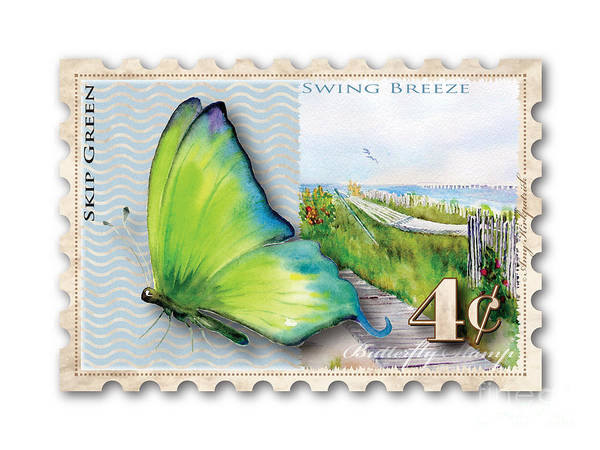 Skipping Painting - 4 Cent Butterfly Stamp by Amy Kirkpatrick
