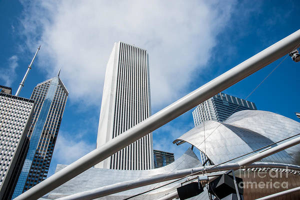Photograph - Chicago Skyline Amphitheater In Millenium Park by Jim DeLillo