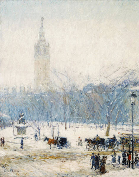 Photograph - Winter In Union Square by Childe Hassam