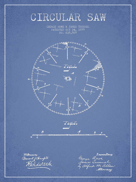 Woodworking Wall Art - Digital Art - Circular Saw Patent Drawing From 1899 by Aged Pixel