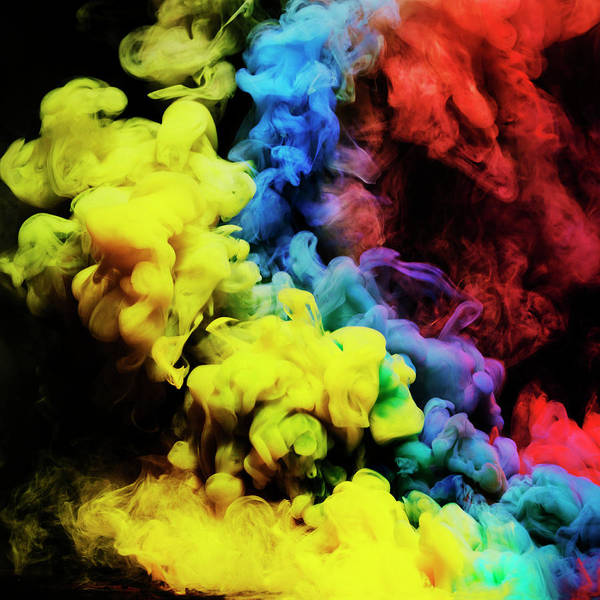 Black Background Photograph - Coloured Smoke Mixing In Dark Room by Henrik Sorensen