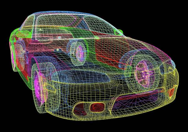 Wireframe Photograph - Computer-aided Design Of A Car by Alfred Pasieka/science Photo Library