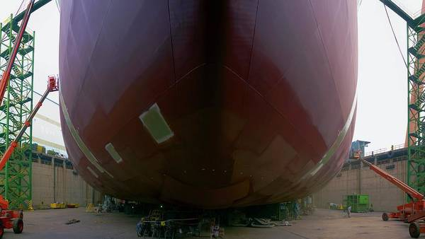Dry Dock Photograph - Crude Oil Tanker Being Built by David Parker/science Photo Library