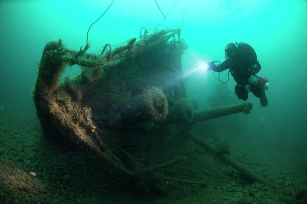 Wall Art - Photograph - Diver Exploring The Wreck Of The Ss by Steve Jones