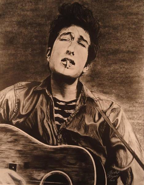 Wall Art - Drawing - Dylan Early Days by Charles Rogers