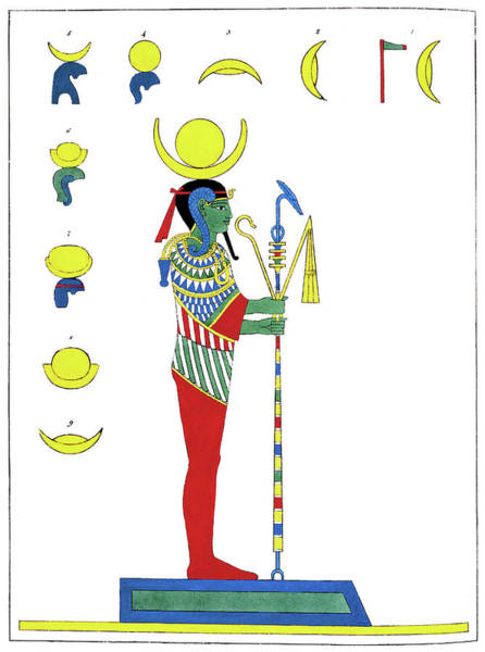 Ancient Egypt Drawing - Egypt Khonsu, 1823 by Granger
