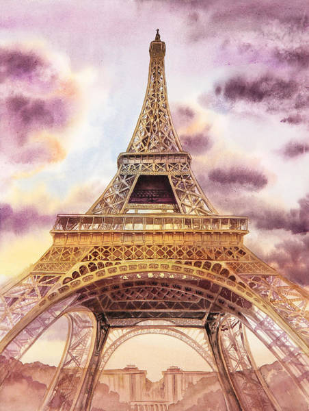 Gold Painting - Eiffel Tower Paris France by Irina Sztukowski