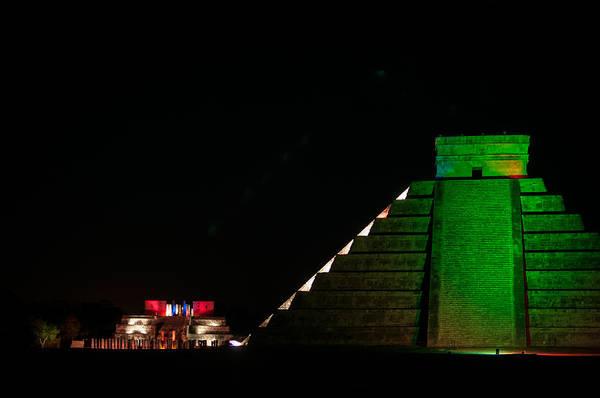 Chichen Digital Art - El Castillo At The Night Show In Chichen Itza by Carol Ailles
